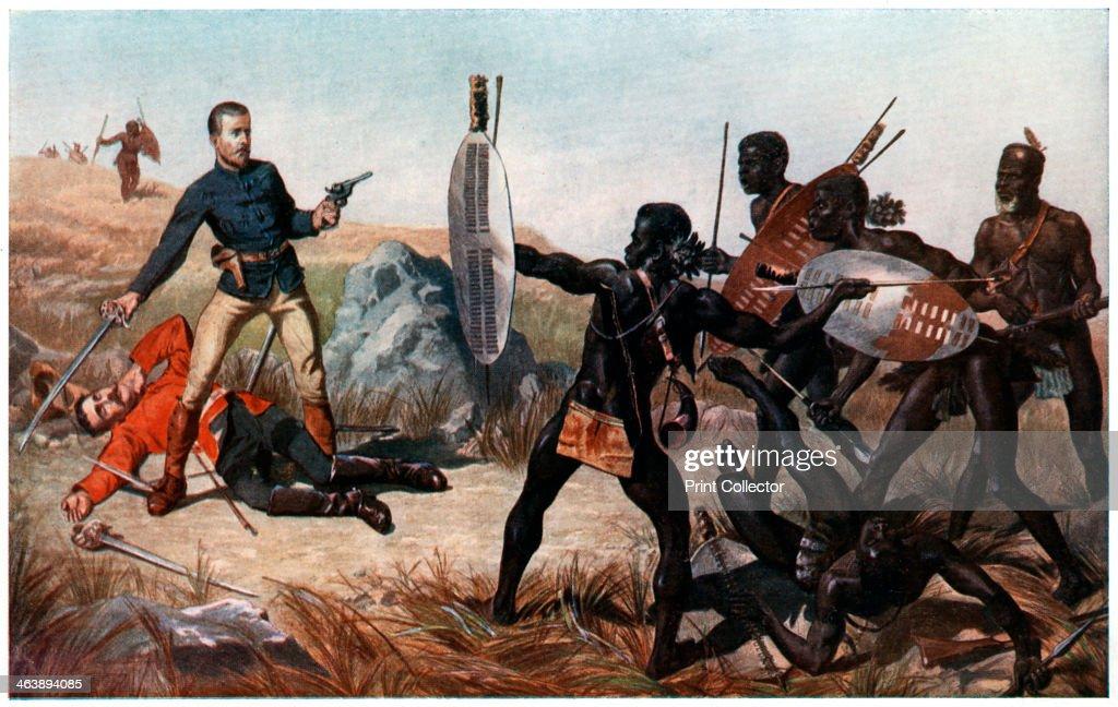 Incident at the Battle of Isandlwana, Anglo-Zulu War, 22 January 1879. Artist: Charles Edwin Fripp : News Photo