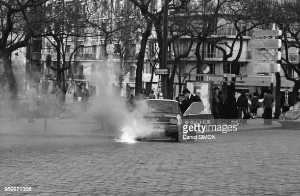 Incidents à la suite de la manifestation contre la marée noire provoquée par le naufrage de l'Amoco Cadiz en Bretagne Paris le 6 avril 1978 France