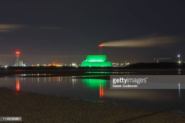 incienerator goes green for st patrick's day festival, dublin, ireland - incinerator stock photos and pictures