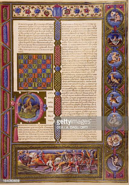Incipit from the Book of Judges from Volume I of the Bible of Borso d'Este illuminated by Taddeo Crivelli and others Latin manuscript 422423 folio 99...