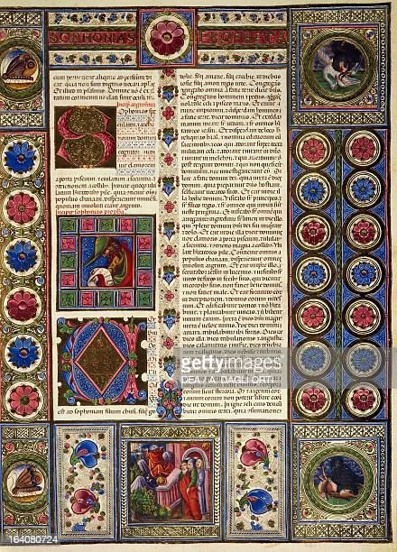 Incipit from the Book of Micah from Volume II of the Bible of Borso d'Este illuminated by Taddeo Crivelli and others Latin manuscript 422423 folio 97...