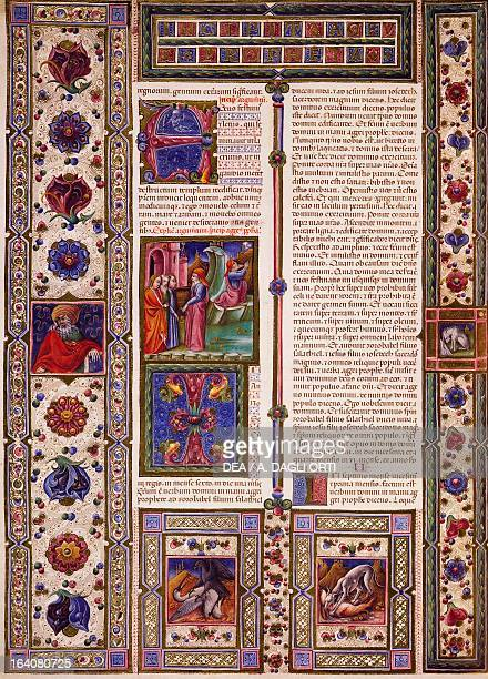Incipit from the Book of Nahum from Volume II of the Bible of Borso d'Este illuminated by Taddeo Crivelli and others Latin manuscript 422423 folio 99...