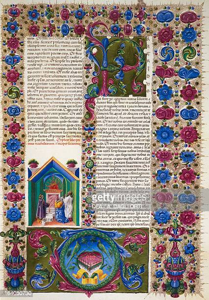 Incipit from the Book of the Prophet Malachi from Volume II of the Bible of Borso d'Este illuminated by Taddeo Crivelli and others Latin manuscript...