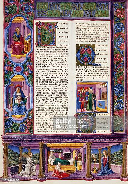 Incipit from the Gospel according to Luke from Volume II of the Bible of Borso d'Este illuminated by Taddeo Crivelli and others Latin manuscript...