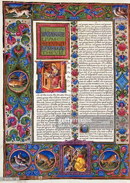 Incipit from the Gospel according to Matthew from Volume II of the Bible of Borso d'Este illuminated by Taddeo Crivelli and others Latin manuscript...