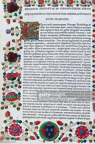 Incipit from the preface with illuminated initials in the border from Commentarii rerum gestarum Francisci Sfortiae by Giovanni Simonetta manuscript...