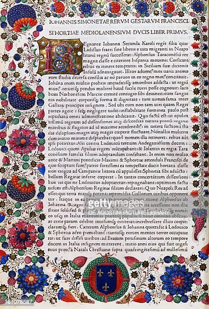 Incipit of Book I with initial R and illuminated borders from Commentarii rerum gestarum Francisci Sfortiae by Giovanni Simonetta manuscript 1482...
