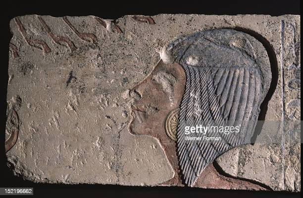 Incised block from an Amarna temple Sunk relief with the head of Meritaten eldest daughter of Akhenaten and Nefertiti under the rays of Aten She...