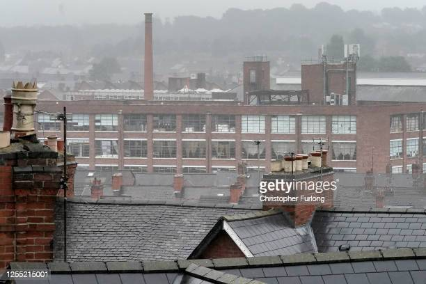 Inclement weather shrouds the roofs of homes and factories in Leicester's North Evington and Spinney Hills neighbourhood on July 09, 2020 in...
