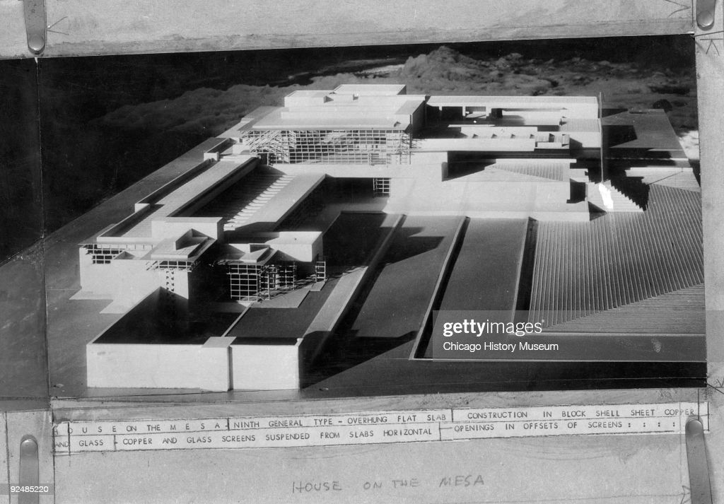 Includes a view showing an architectural model of the House on the Mesa, designed by Frank Lloyd Wright, 1938.