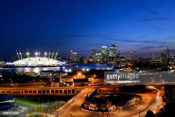 Including Docklands district with skyscrapers of Canary Wharf, The O2 arena, River Thanes.