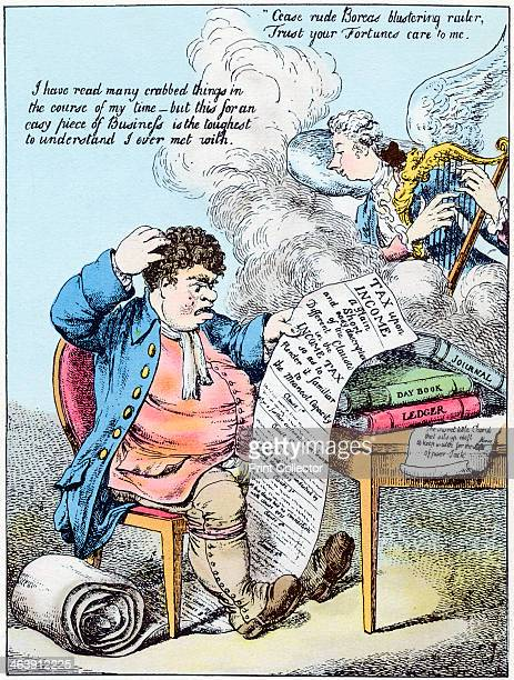 Income Tax 1798 John Bull scratches his head at William Pitt's introduction of Income Tax Pitt is shown as an angel playing a harp Handcoloured...
