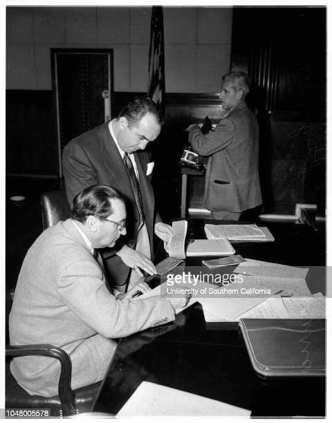 Income tax hearing Mickey Cohen June 6 1951 Morris Lewis Luke SmithElliot ZackJohn F O'Rourke Charles Ross Attorney Maurice BlumenthalLouis GaleMrs...
