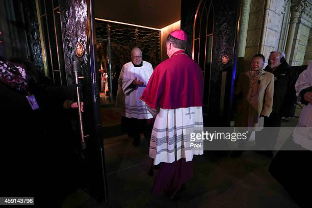 Incoming Archbishop Blase Cupich enters Holy Name Cathedral for a Rite of Reception ceremony November 17 2014 in Chicago Illinois Cupich will be...