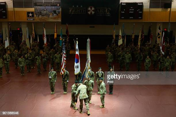 Incoming commander of the Eighth Army and South KoreaUS Combined Forces Command General Michael A Bills receives the United States Forces Korea...