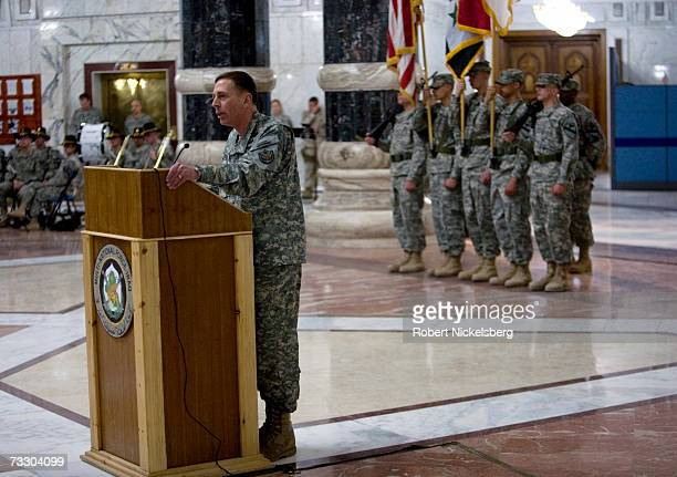 Incoming commanding General David H Petraeus speaks to the attending diplomatic corps and military officials during the ceremony where outgoing...