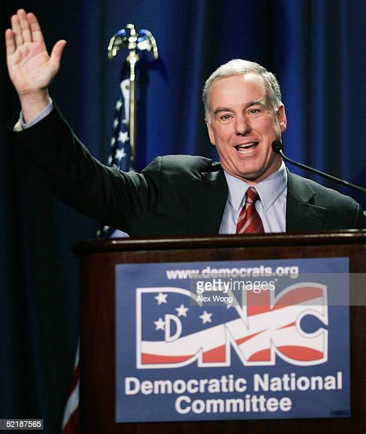 Incoming Democratic National Committee Chairman Howard Dean waves as he acknowledges supporters after his speech February 12 2005 during the DNC...