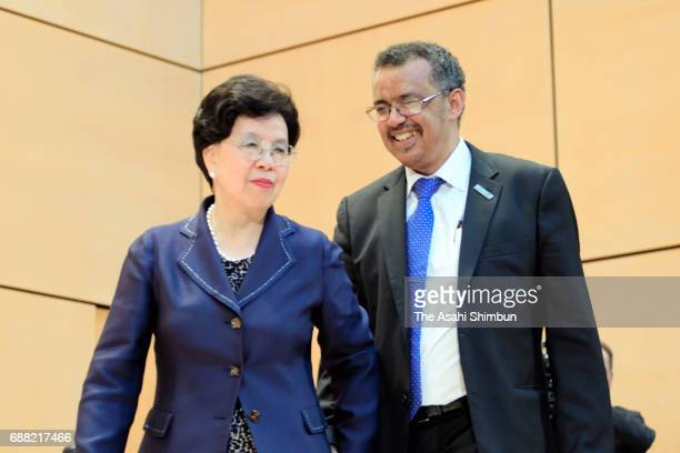 Incoming Director General Tedros Adhanom Ghebreyesus and outgoing DirectorGeneral Margaret Chan look on during the 70th World Health Organization...
