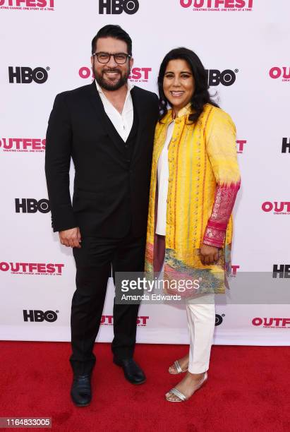 Incoming Executive Director of Outfest Damien Navarro and writer and director Nisha Ganatra arrive at the 2019 Outfest Los Angeles LGBTQ Film...