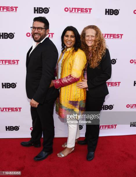 Incoming Executive Director of Outfest Damien Navarro writer and director Nisha Ganatra and Outfest Deputy Director Kerri StoughtonJackson arrive at...