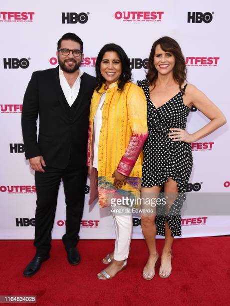 Incoming Executive Director of Outfest Damien Navarro writer and director Nisha Ganatra and actress Amy Landecker arrive at the 2019 Outfest Los...