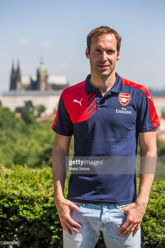 Incoming goalkeeper of Arsenal Petr Cech poses for photographers after his press conference on July 1, 2015 in Prague, Czech Republic.