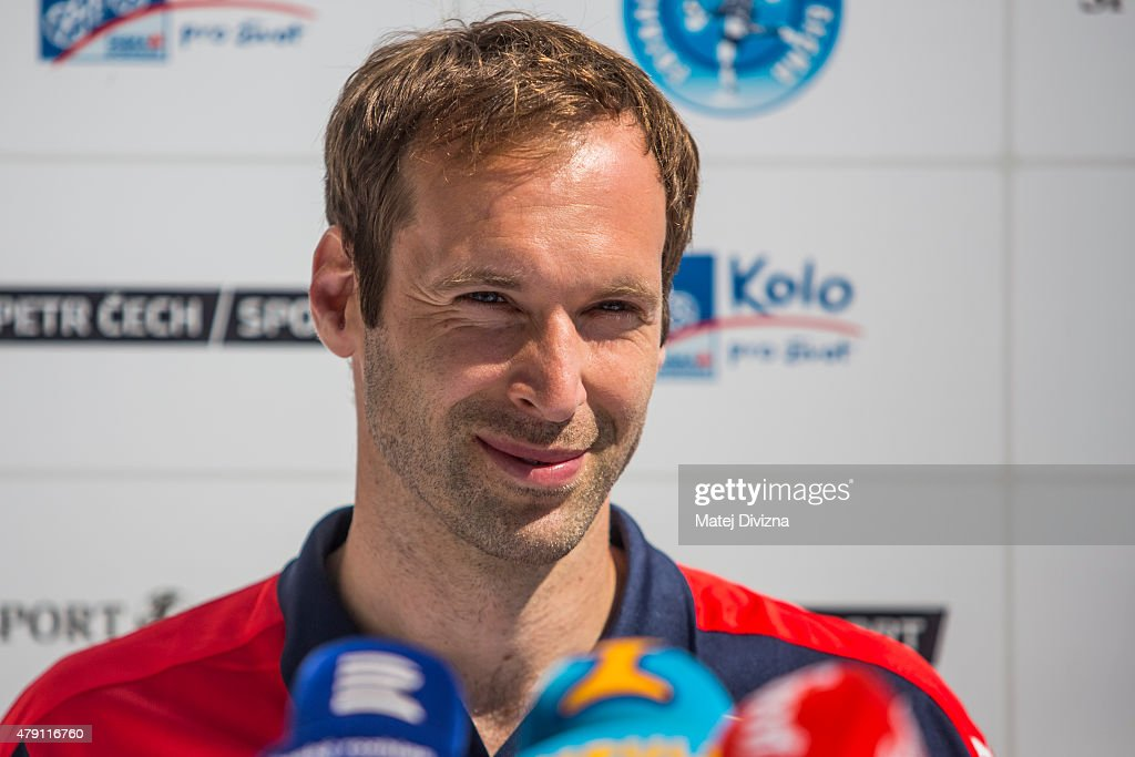 Incoming goalkeeper of Arsenal Petr Cech smiles during his press conference on July 1, 2015 in Prague, Czech Republic.