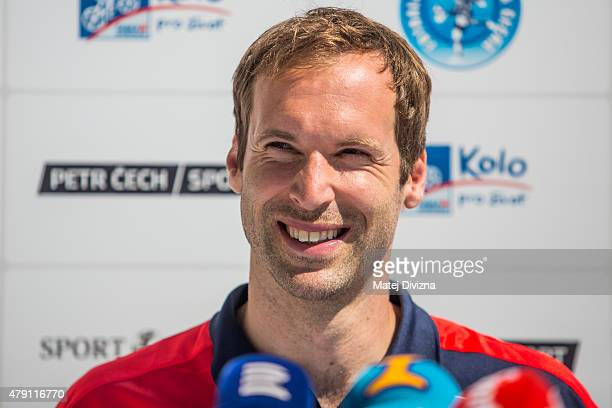 Incoming goalkeeper of Arsenal Petr Cech smiles during his press conference on July 1 2015 in Prague Czech Republic