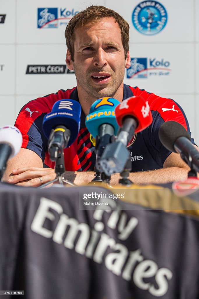 Incoming goalkeeper of Arsenal Petr Cech speaks during his press conference on July 1, 2015 in Prague, Czech Republic.