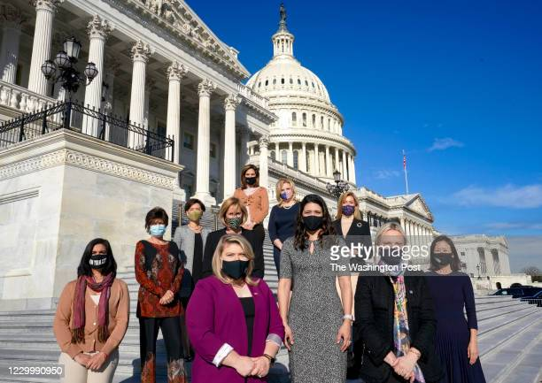 Incoming GOP congresswomen pose for a portrait outside the U.S. Capitol in Washington, District of Columbia, on December 3, 2020. From left, front...