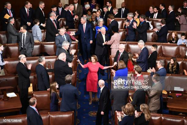 Incoming House Speaker Nancy Pelosi DCA arrives during the opening session of the 116th Congress at the US Capitol in Washington DC January 3 2019...