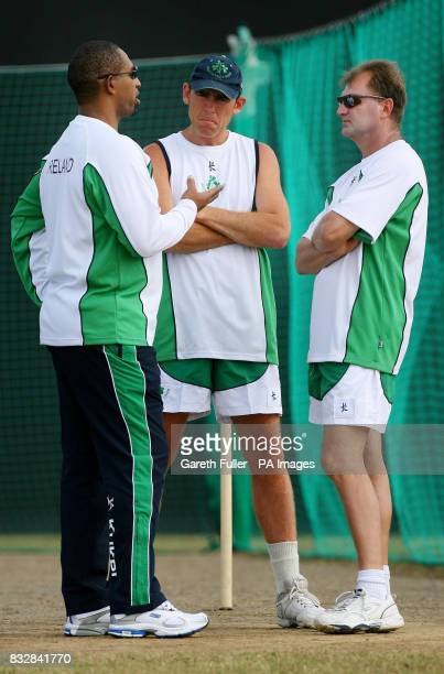 Incoming Irish coach Phil Simmons with Captain Trent Johnston and current coach Adrian Birrell talk tactics before training at the National Cricket...
