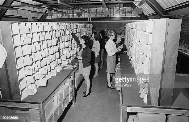 Incoming mail is sorted on the Open University campus at Walton Hall Milton Keynes Buckinghamshire 27th January 1971 A distance learning university...