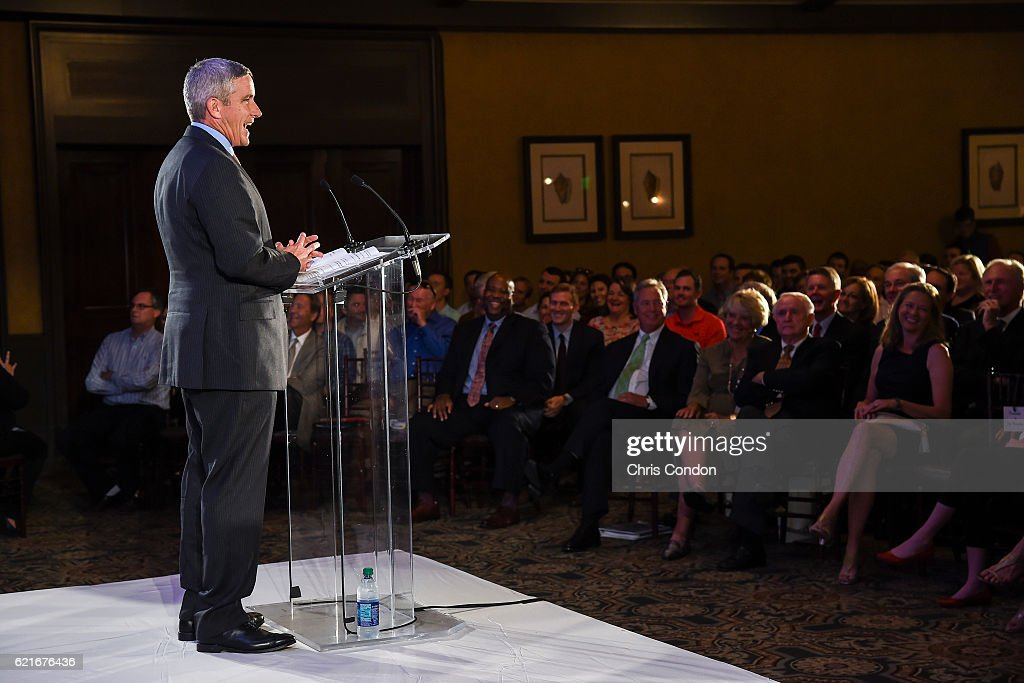 Incoming PGA TOUR Commissioner Jay Monahan speaks during the PGA TOUR You Employee Meeting in the Ponte Vedra Room at TPC Sawgrass on November 7, 2016 in Ponte Vedra Beach, Florida.