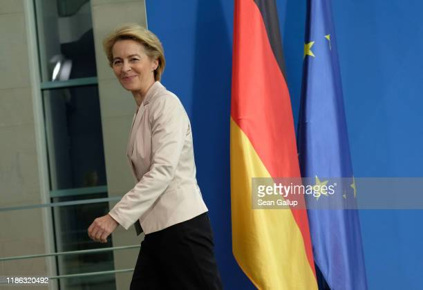 Incoming President of the European Commission Ursula von der Leyen departs after speaking with German Chancellor Angela Merkel to the media following...