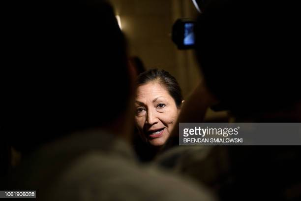 Incoming Representative Deb Haaland speaks with reporters before a House of Representatives memberelect welcome briefing on Capitol Hill November 15...