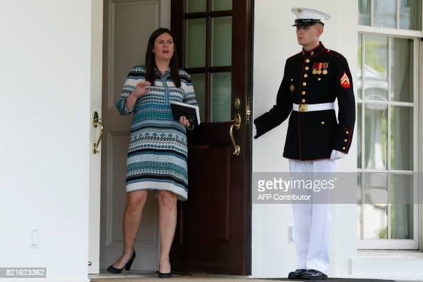 Incoming White House Press Secretary Sarah Huckabee Sanders alerts the media of the imminent arrival of Senior Advisor to the President Jared Kushner...