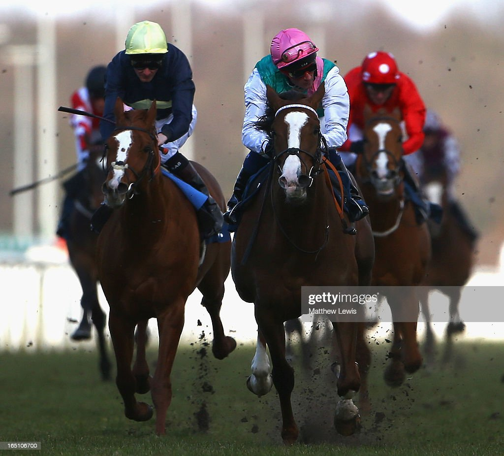 Incorporate ridden by Dane O'Neill goes on to win the Universal Recycling Maiden Stakes (Class 5) race at Doncaster Racecourse on March 30, 2013 in Doncaster, England.