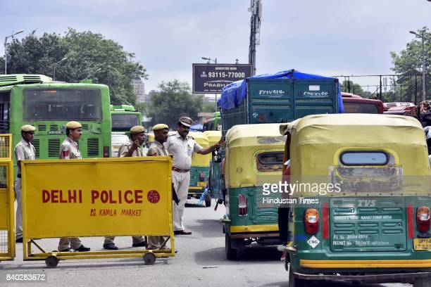Increased security outside New Delhi Railway Station in view of pronouncement of the sentence against the Dera Sacha Sauda cult chief Gurmeet Ram...