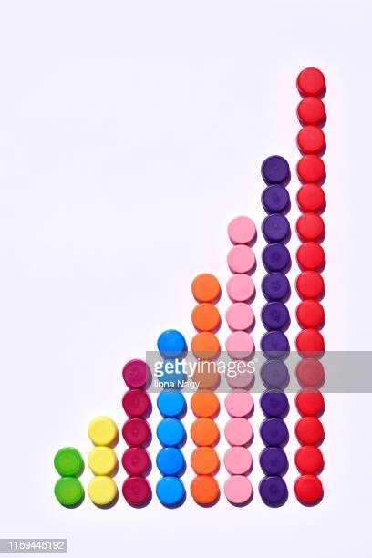 increasing bar chart made of plastic bottle caps - cap stock pictures, royalty-free photos & images