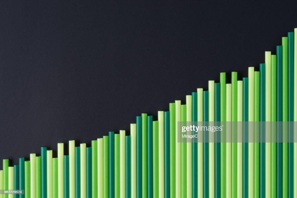 Increasing Green Bar Graph : Stock Photo