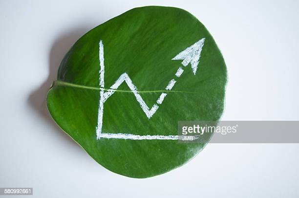 increasing line graph on a leaf - sustainable development goals stock pictures, royalty-free photos & images