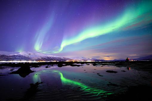 Incredible Aurora Borealis activity above the coast in Norway - gettyimageskorea