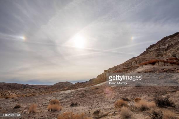 incredible sundog phenomenon at red rocks canyon - light natural phenomenon stock pictures, royalty-free photos & images