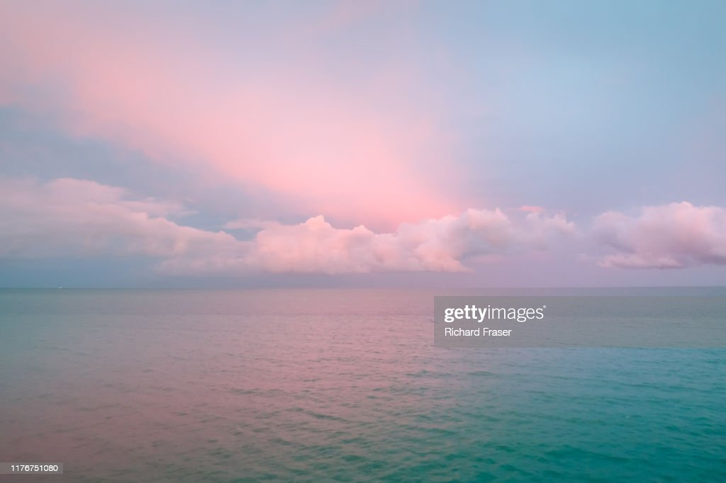 Incredible sunset with pink clouds : Stock Photo