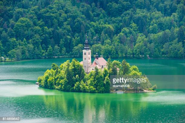 incredible view of Church and Castle at middle Bled lake near Bled city Slovenia  Europe