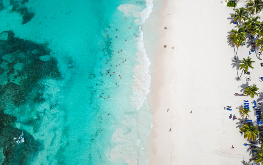 Incredible view of the white sandy beach from a bird's eye view. Top view of beautiful white sand beach with turquoise sea water and palm trees, aerial drone shot. 1069553852