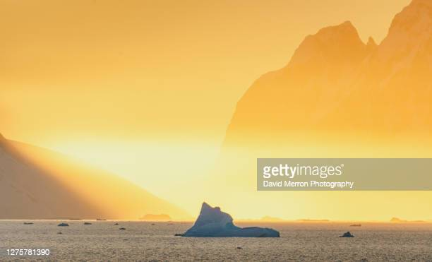 incrsible colours during sunset on the antarctic peninsula. - 南極海峡 ストックフォトと画像
