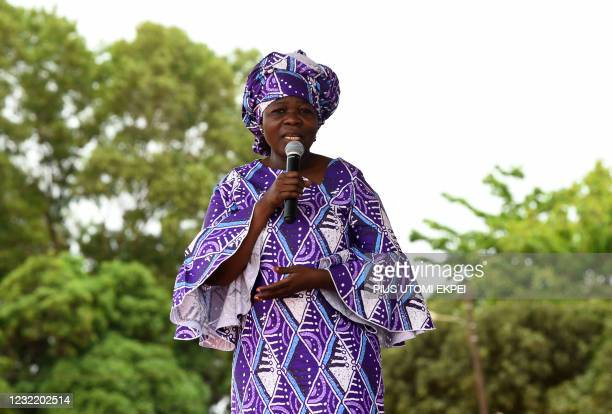 Incumbent Benin President Patrice Talon's running mate Mariam Talata speaks to supporters during a campaign rally at Abomey-Calavi, Benin, on April...
