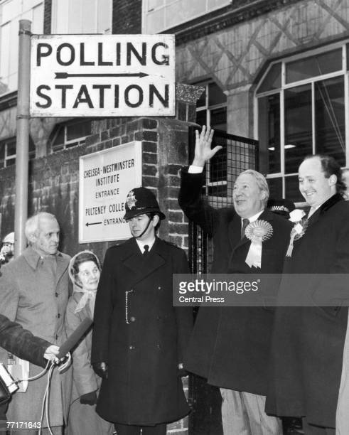 Incumbent British Conservative Prime Minister Edward Heath arriving to cast his vote in the City of London and Westminster South constituency in the...